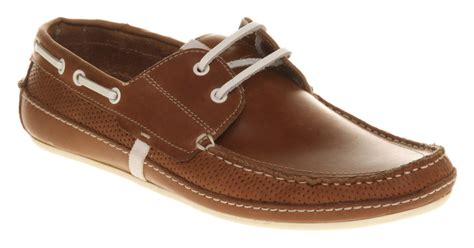 mens h by hudson sunseeker boat shoe brown leather casual