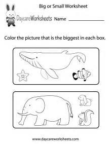 free preschool big or small worksheet