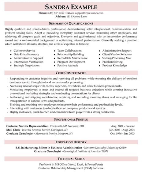 customer service resume sle stonewall services