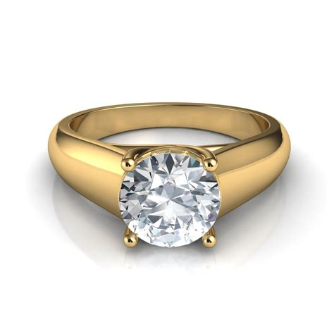 Lucida Wide Band Solitaire Diamond Engagement Ring