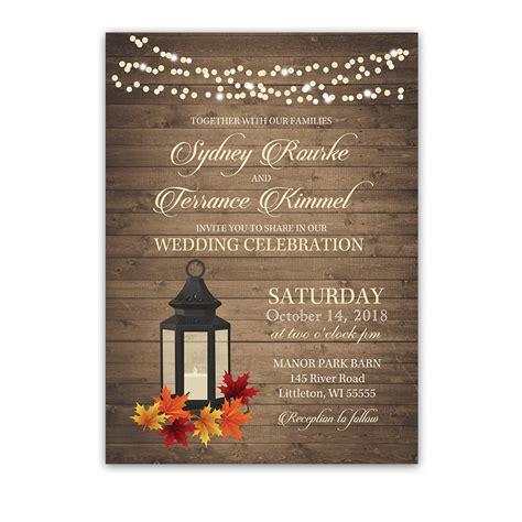 wedding engagement invitation rustic fall lantern autumn leaves wedding invitations