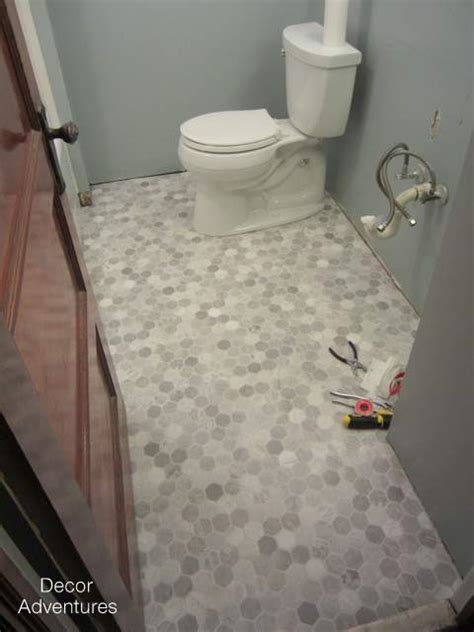 Roll Out Vinyl Flooring by Small Master Bathroom Makeover 187 Decor Adventures