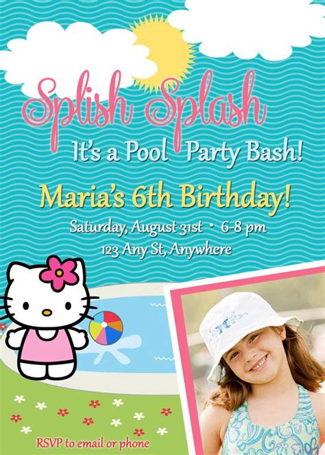 Pool Hello hello inspired pool birthday invitation with