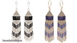 how to make brick stitch and fringe beaded earrings youtube