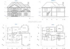 house drawings plans two story house plans dwg free cad blocks download