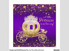 Purple and Gold Princess Carriage Baby Shower Card ... Free Clipart For Baby Showers For Girls
