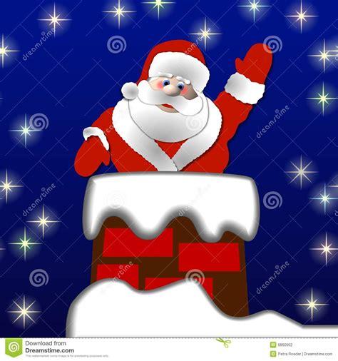 santa in the chimney stock illustration image of snowing