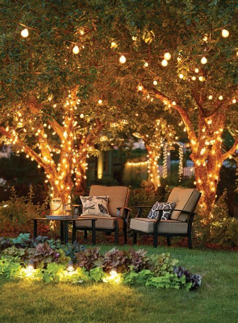 patio garden outdoor tree lighting outdoor deck