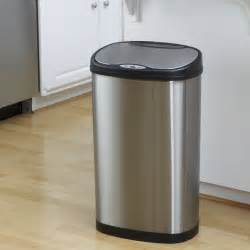 stainless steel kitchen trash can nine dzt 50 13 touchless stainless steel 13 2 gallon