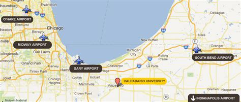 chicago map with airports area airports about