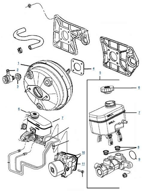 brake booster parts diagram jk wrangler master cylinder and brake booster parts 4