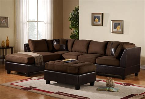 Sectional Sofa Pillows 3pc Sectional Sofa Microsuede Faux Leather Brown With Ottoman Accent Pillows