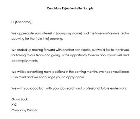 job rejection letter samples examples write
