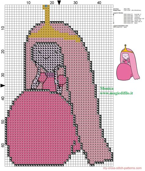 html pattern for time princess bubblegum adventure time cross stitch pattern