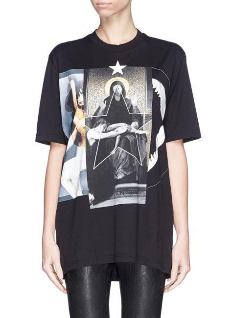 Kaos Givenchy Shark Black givenchy madonna shark jaw collage print t shirt in black lyst