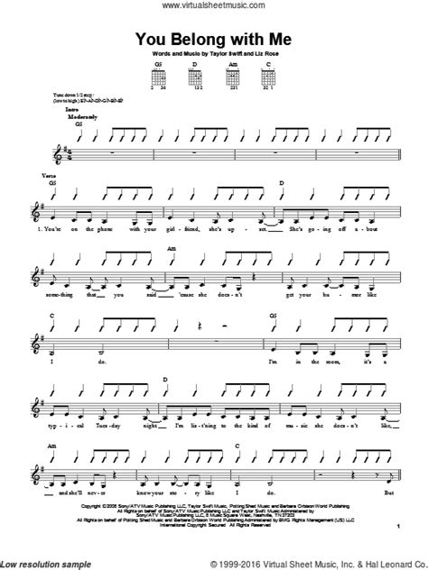 you belong with me guitar tutorial swift you belong with me sheet music for guitar solo