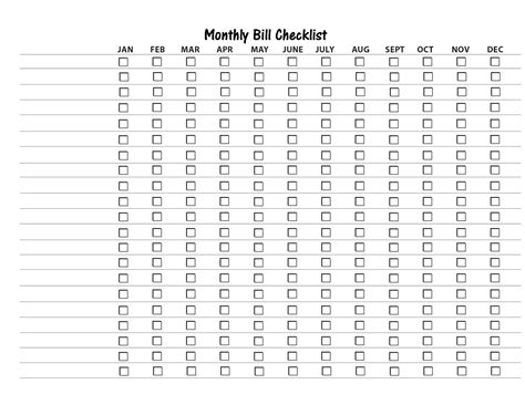 monthly checklist template free bill organizer printable new calendar template site