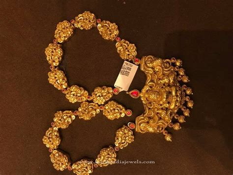 gold antique temple necklace south india jewels