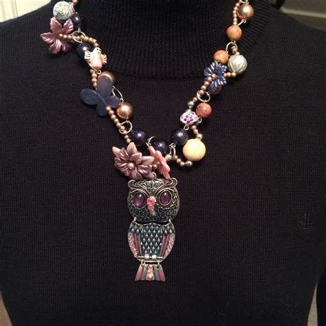 owl beaded necklace womens handmade costume jewelry