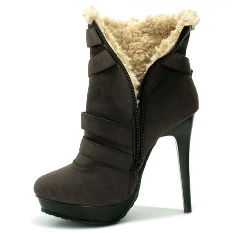 womens brown aviator faux shearling stiletto ankle boots