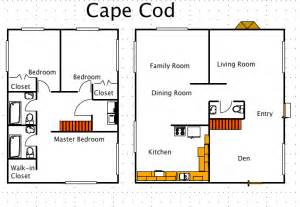 cape house floor plans cape cod house style a free ez architect floor plan for