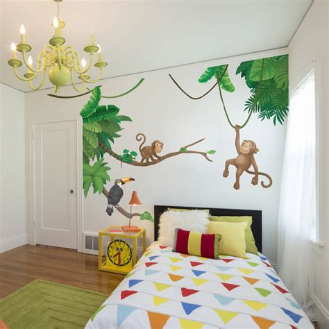 childrens wall stickers jungle monkey children s wall sticker set by oakdene