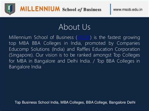 Mba Prerequisites India by Millennium School Of Business Msob Top Business