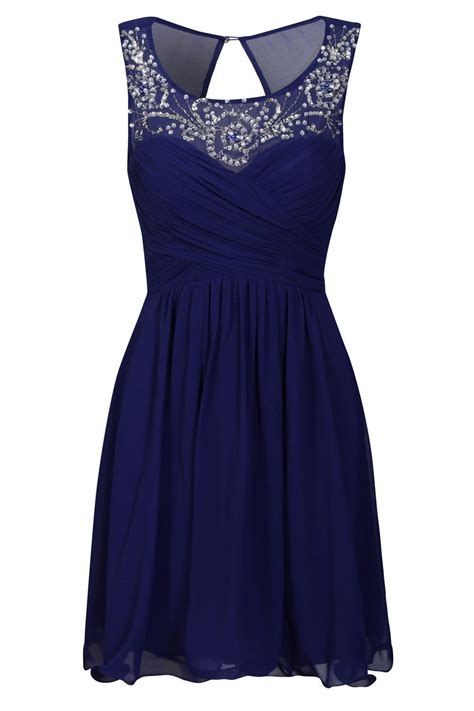 A Pretty Embellished Navy Dress From Warehouse by Cobalt Embellished Neckline Prom Dress