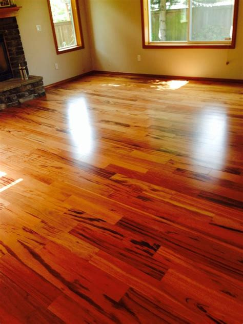 Beautiful tigerwood flooring installed in Renton