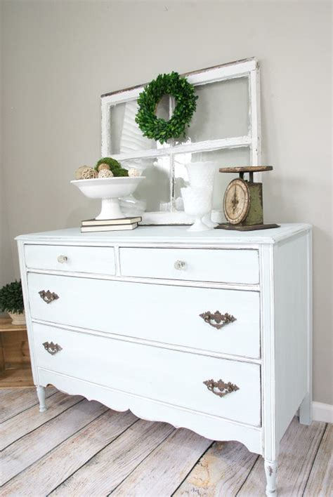 blue farmhouse style dresser makeover canary crafts
