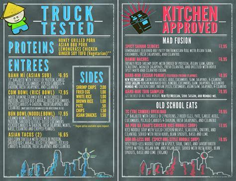 Kitchen La Food Truck Menu by Food Truck Menu Pricing Methods