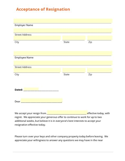 Acceptance Form Template business form template gallery