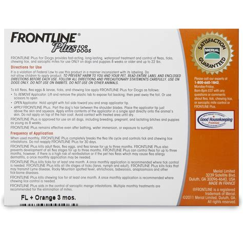 frontline plus for dogs 22 lbs frontline plus for dogs 0 22 lbs orange 6 month