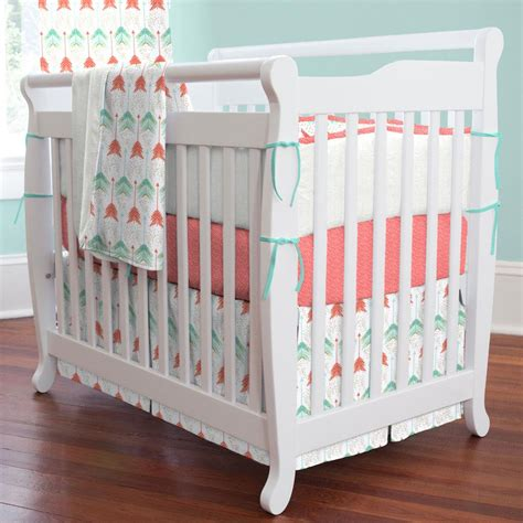 Coral And Teal Arrows Mini Crib Skirt Box Pleat Carousel Mini Crib Bed Skirt