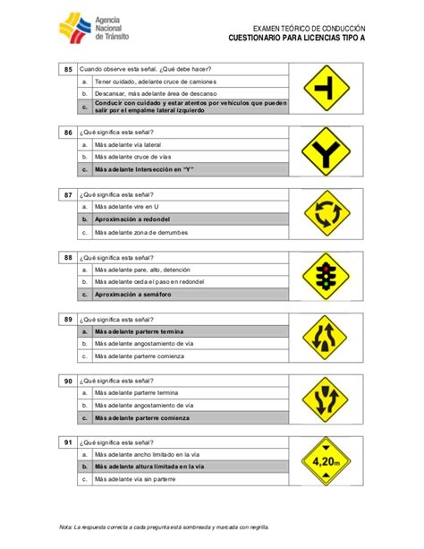preguntas ant licencia tipo a ant preguntas para licencia tipo a