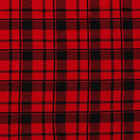 plaid design black red buffalo plaid cotton spandex knit fabric a top