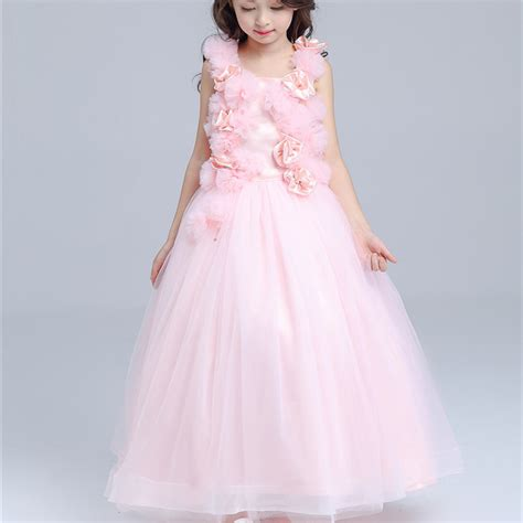 10 year old girls birthday dresses pink long formal girl dress christmas kids party costume