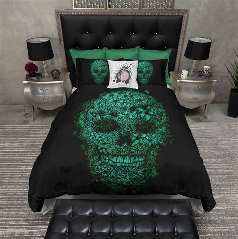 black and green bedding black and green floral skull bedding ink and rags