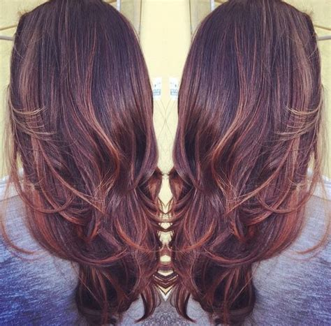 mahoganey hair with highlights balayage with burgundy