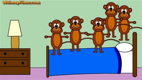 monkeys on the bed five little monkeys jumping on the bed nursery rhyme song youtube
