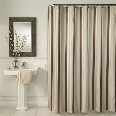 Brown And Gray Curtains Designs Brown Vertical Stripped Shower Curtains Sets For Painted Grey Bathroom With Black Mirror Artenzo
