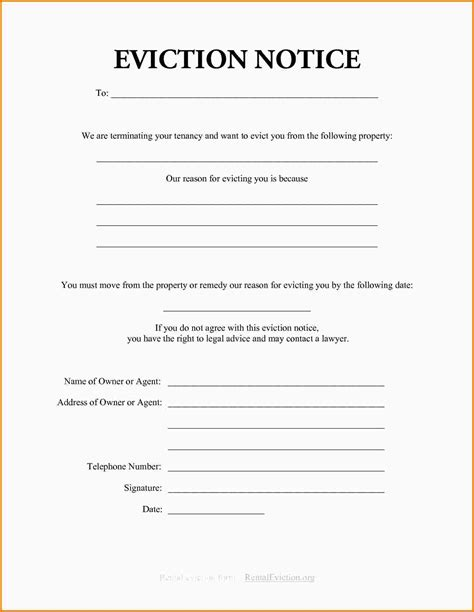 Eviction Notice Template Tryprodermagenix Org Free Printable Eviction Notice Template