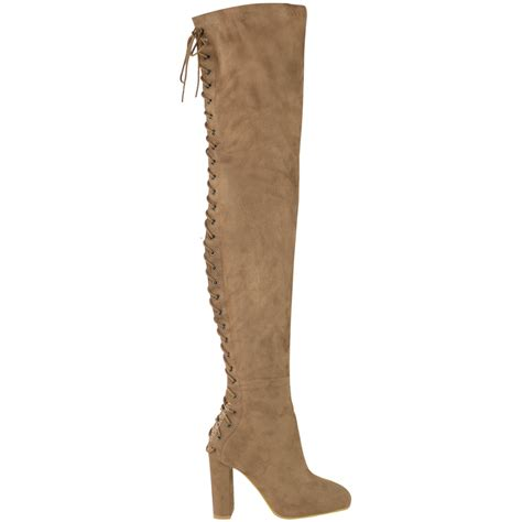 lace up knee high heels womens knee thigh high block heels lace up