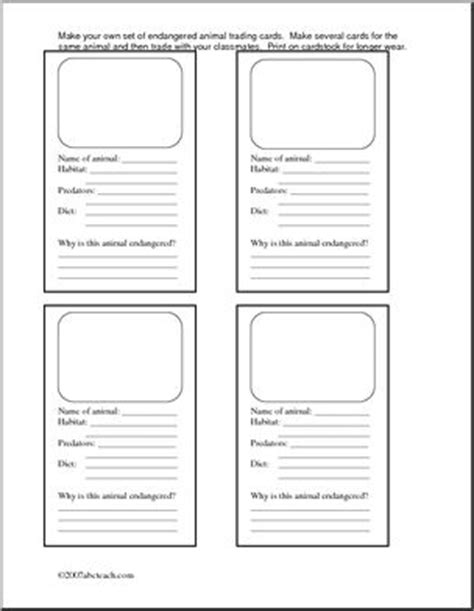 animal fact cards template endangered species draw and make your own on