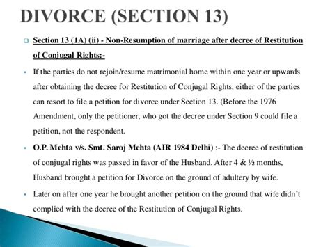 divorce section matrimonial remedies under hindu marriage act 1955