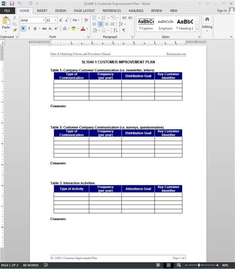 customer service improvement plan template customer improvement plan template