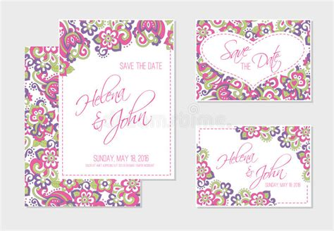 set of wedding invitation or anniversary cards with