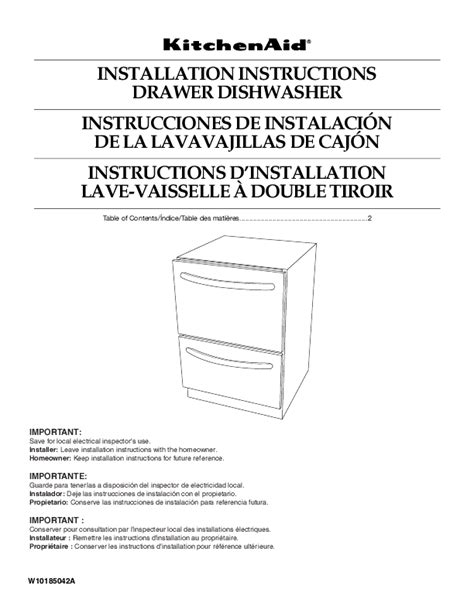 kitchenaid drawer dishwasher manual kitchenaid dishwasher kudh03dtbl user s guide