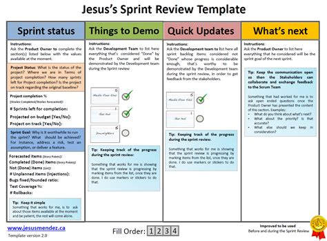 Techniques To Improve Sprint Review Jesus Mendez Sprint Planning Template