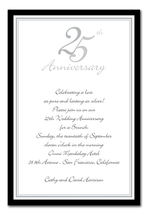 25th birthday card templates wedding invitation wording 25th wedding anniversary